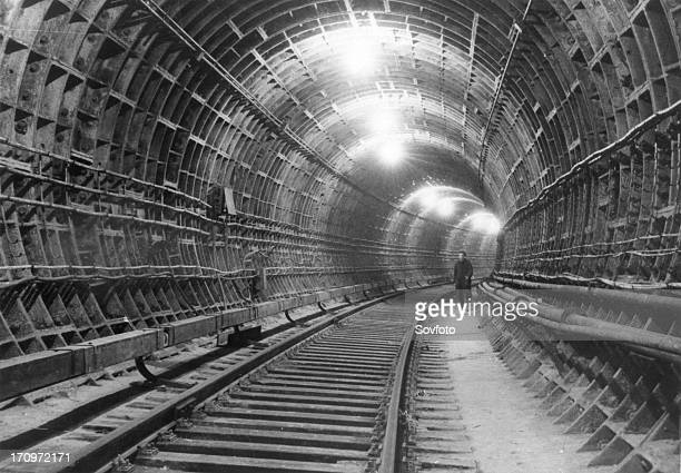 Moscow subway moscow ussr october 1951 the tunnel between the botanical gardens station and the komsomolskayacircular station