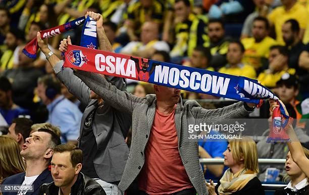 A Moscow supporter displays his scarf during the final basketball match CSKA Moscow vs Fenerbahce Istanbul at the Euroleague Final Four in Berlin on...