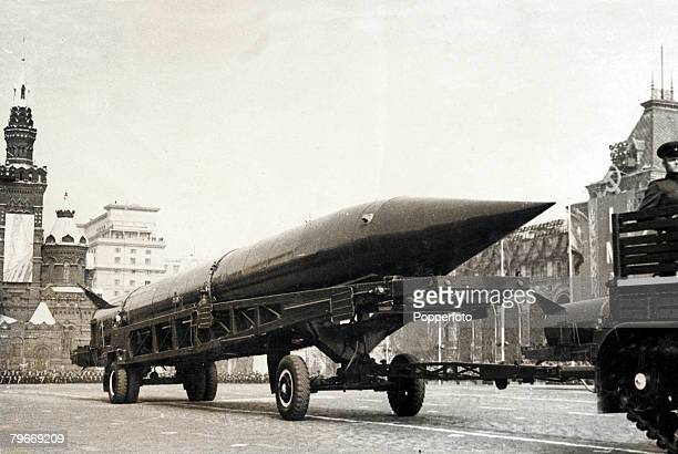 Moscow USSR May A view of an SS4 Sandal missile loaded on the back of a transporter as it is pulled past the Kremlin during the annual May Day...