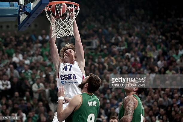 Moscow's Andrei Kirilenko scores during the Euroleague playoff basketball match between Panathinaikos and CSKA Moscow in Athens on April 22 2015 AFP...