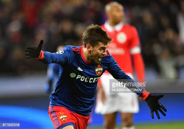 Moscow's defender from Russia Georgy Shchennikov celebrates after scoring a goal during the UEFA Champions League Group A football match between PFC...