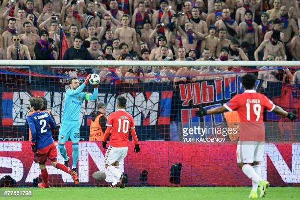 Moscow's goalkeeper from Russia Igor Akinfeev grabs the ball during the UEFA Champions League Group A football match between PFC CSKA Moscow and SL...