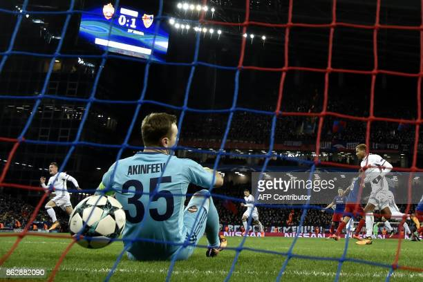 Moscow's goalkeeper from Russia Igor Akinfeev reacts during the UEFA Champions League Group A football match between PFC CSKA Moscow and FC Basel...