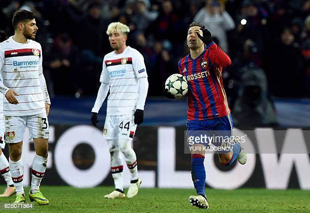Moscow's Israeli midfielder Bibras Natcho celebrates after scoring a penalty shot during the UEFA Champions League football match between PFC CSKA...