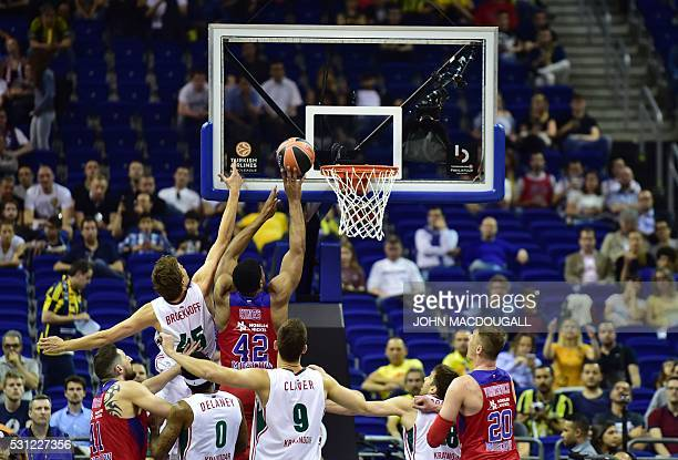 Moscow's Kyle Hines goes for a shot during the semifinal basketball match CSKA Moscow vs Lokomotiv Kuban Krasnodar at the Euroleague Final Four in...