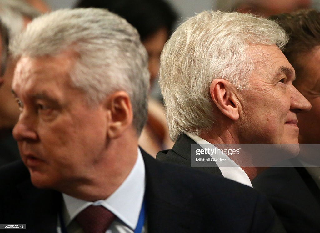 Moscow's Mayor Sergei Sobyanin (L) and Russian billionaire and businessman <a gi-track='captionPersonalityLinkClicked' href=/galleries/search?phrase=Gennady+Timchenko&family=editorial&specificpeople=10841361 ng-click='$event.stopPropagation()'>Gennady Timchenko</a> (R) attend the meeting of the Board of Trustees of the Russian Geographic Society on April 29, 2016 in Saint Petersburg, Russia. Putin is on a trip to Saint Petersburg.