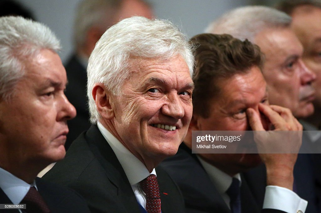 Moscow's Mayor Sergei Sobyanin, Russian billionaire and businessman <a gi-track='captionPersonalityLinkClicked' href=/galleries/search?phrase=Gennady+Timchenko&family=editorial&specificpeople=10841361 ng-click='$event.stopPropagation()'>Gennady Timchenko</a>, Gazprom's CEO <a gi-track='captionPersonalityLinkClicked' href=/galleries/search?phrase=Alexei+Miller&family=editorial&specificpeople=713081 ng-click='$event.stopPropagation()'>Alexei Miller</a> and President of Lukoil Vagit Alekperov attend the meeting of the Board of Trustees of the Russian Geographic Society on April 29, 2016 in Saint Petersburg, Russia. Putin is on a trip to Saint Petersburg.