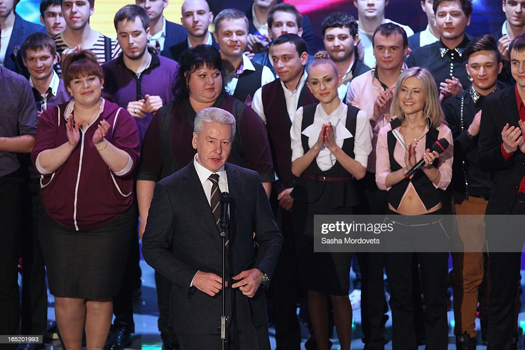 Moscow's Mayor Sergey Sobyanin speaks during the opening of the International Youth Comic Club on the television show KVN at the new building 'Planet KVN' on April 1, 2013 in Moscow, Russia. KVN is a popular comedic talent show for student teams, and has been aired on national TV since 1961.