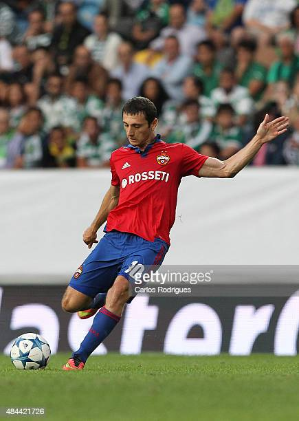 Moscow's midfielder Alan Dzagoev during the UEFA Champions League qualifying round playoff first leg match between Sporting CP and CSKA Moscow at...