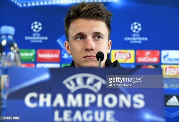 Moscow's midfielder from Russia Aleksandr Golovin attends a press conference at the Stadion CSKA Moskva in Moscow on September 26 2017 on the eve of...
