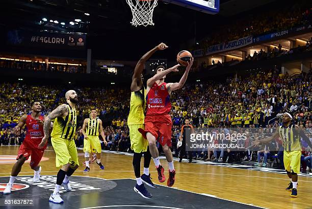 Moscow's Nando de Colo goes up to score during the final basketball match CSKA Moscow vs Fenerbahce Istanbul at the Euroleague Final Four in Berlin...