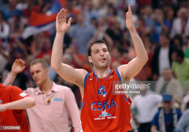Moscow's Theodoras Papaloukas celebrates after beating Unicaja Malaga during the Euroleague Final Four Semi Final on May 4th 2007 at the OAKA Arena...
