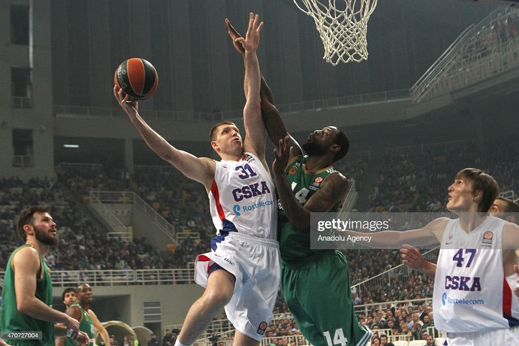 Moscow's Victor Khryapa in action during the Euroleague playoff basketball match between Panathinaikos and CSKA Moscow in Athens on April 22 2015