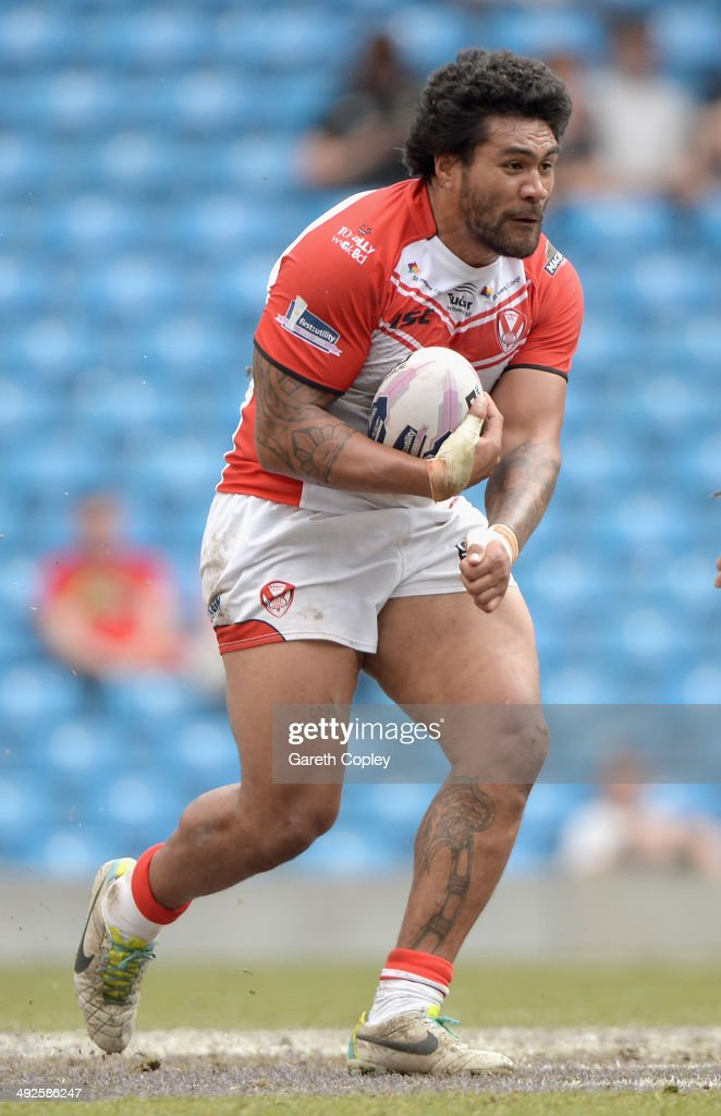 Mose Masoe of St Helens during the Super League match between Warrington Wolves and St Helens at Etihad Stadium on May 18, 2014 in Manchester, England.