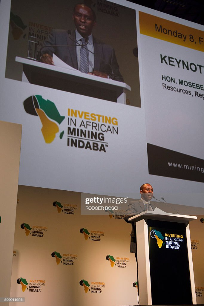 Mosebenzi Zwane, South African Minister of Mineral Resources, addresses the first day of the Mining Indaba 2016 Conference on February 8, 2016, at the Cape Town International Convention Centre in Cape Town. The Mining Indaba is the world's foremost conference on mining in Africa, bringing miners, corporates, goverments and others interested people, together. / AFP / RODGER BOSCH