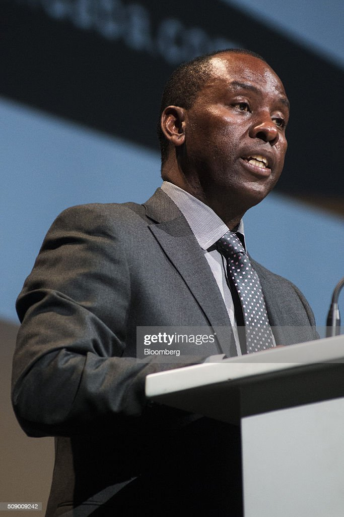 Mosebenzi Zwane, South Africa's mineral resources minister, speaks on the opening day of the Investing in African Mining Indaba in Cape Town, South Africa, on Monday, Feb. 8, 2016. With many miners battling to stay afloat, fewer are willing to shell out 1,140 pounds ($1,641) for the Investing in African Mining Indaba conference in South Africa and business-class airfare. Photographer: Waldo Swiegers/Bloomberg via Getty Images