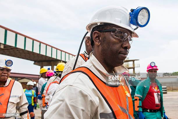 Mosebenzi Zwane South Africa's Mineral Resources Minister tours Harmony Gold Mining Co's Doornkop mine west of Johannesburg South Africa on Tuesday...