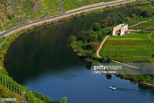 Moselle river and Abbey Stuben near Bremm