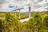 Moselle Vineyads Landscape and Hochmoselbruecke under constraction Germany