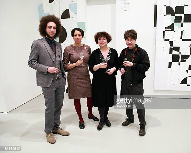Moses and Denise Mawila pose with Woog Riots at the Michael Riedel Art Exhibition Powerpoint at David Zwirner Gallery on February 16 2013 in New York...