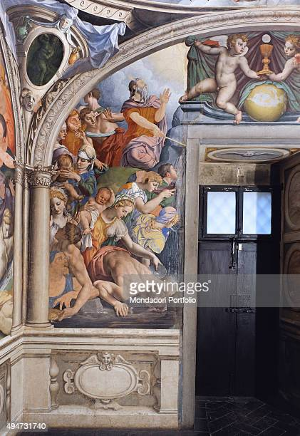 Moses brings out the Water from the Rock by Bronzino 15431545 16th Century fresco Italy Tuscany Florence Palazzo Vecchio Chapel of Eleonora Detail...