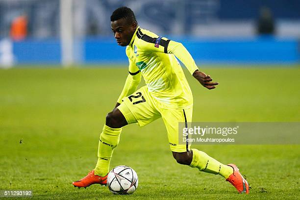 Moses DaddyAjala Simon of Gent in action during the UEFA Champions League round of 16 first leg match between KAA Gent and VfL Wolfsburg at Ghelamco...