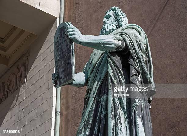 Moses in front of Vor Frue Kirke, Copenhagen, Denmark