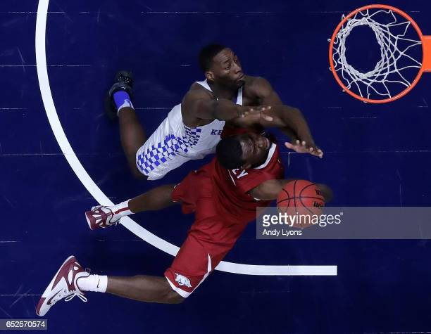Moses Kingsley of the Arkansas Razorbacks drives against Edrice Adebayo of the Kentucky Wildcats during the championship game at the 2017 Men's SEC...