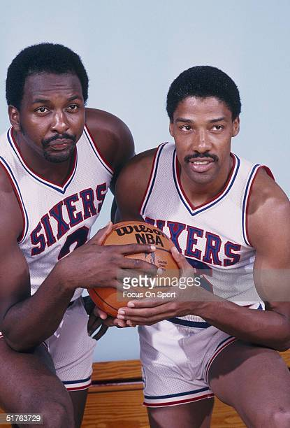 Moses Malone and Julius Erving of the Philadelphia 76ers pose for a photo during the 1982 NBA season