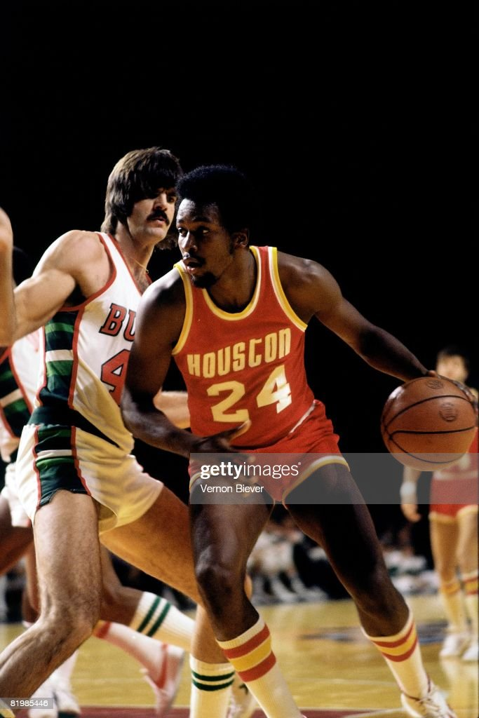 <a gi-track='captionPersonalityLinkClicked' href=/galleries/search?phrase=Moses+Malone&family=editorial&specificpeople=213188 ng-click='$event.stopPropagation()'>Moses Malone</a> #24 of the Houston Rockets makes a move to the basket against the Milwaukee Bucks during the 1977 season at the MECCA Arena in Milwaukee, Wisconsin.