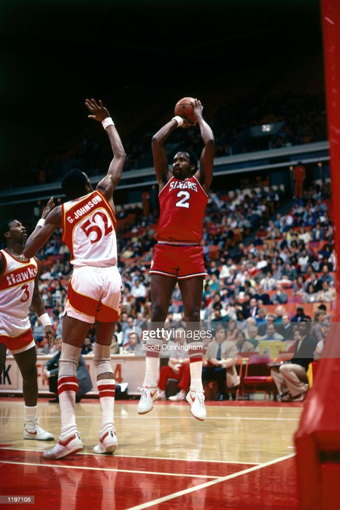 <a gi-track='captionPersonalityLinkClicked' href=/galleries/search?phrase=Moses+Malone&family=editorial&specificpeople=213188 ng-click='$event.stopPropagation()'>Moses Malone</a> #2 of the Philadelphia 76'ers takes a jumper against the Atlanta Hawks during the NBA game in Atlanta, Georgia.