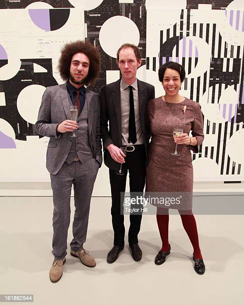 Moses Mawila Michael Riedel and Denise Mawila attend the Michael Riedel Art Exhibition Powerpoint at David Zwirner Gallery on February 16 2013 in New...