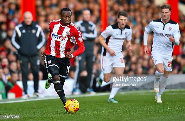 Moses Odubajo of Brentford FC during the Sky Bet Championship match between Brentford and Rotherham United at Griffin Park on January 10 2015 in...