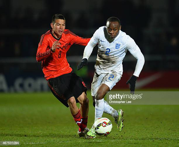 Moses Odubajo of England gets away from Irving Rodrigo Lozano Bahena of Mexico during the U20 International Friendly match between England and Mexico...