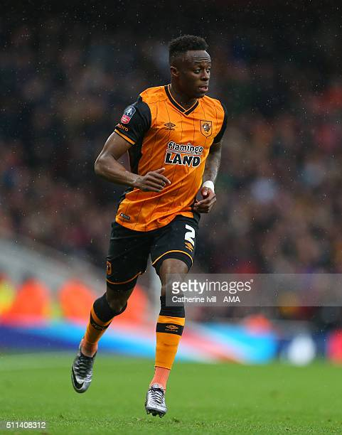 Moses Odubajo of Hull City during the Emirates FA Cup match between Arsenal and Hull City at the Emirates Stadium on February 20 2016 in London...