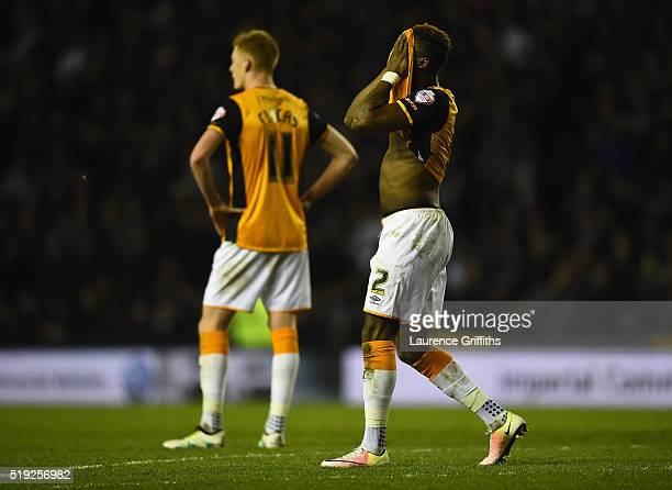 Moses Odubajo of Hull City reacts after recieving a red card during the Sky Bet Championship match between Derby County and Hull City on April 5 2016...