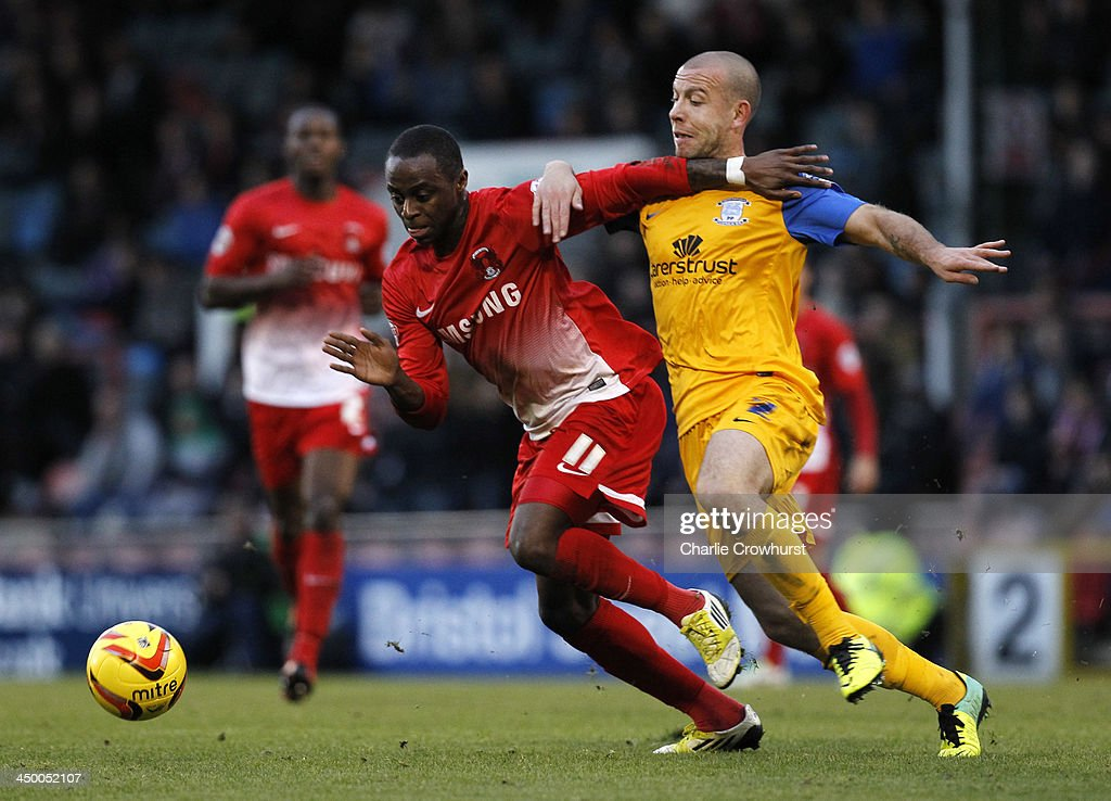 Moses Odubajo of Leyton Orient (L) and Keith Keane of Preston battle for the ball during the Sky Bet League One match between Leyton Orient and Preston North End at The Matchroom Stadium on November 16, 2013 in London, England.