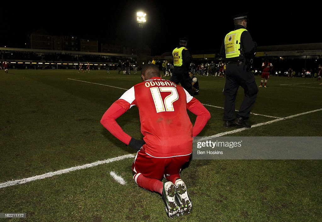 Moses Odubajo of Leyton Orient looks dejected after the final whistle during the Johnstone's Paint Trophy Southern Section Final match between Southend United and Leyton Orient at the Roots Hall Stadium on February 20, 2013 in Southend, England.