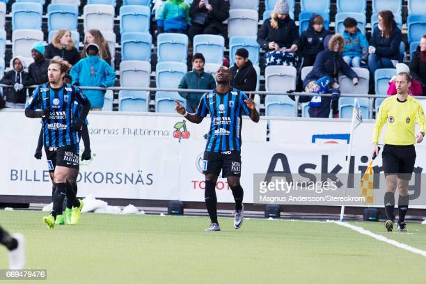 Moses Ogbu celebrates after scoring 01 during the Allsvenskan match between IFK Norrkoping and IF Sirius FK at Ostgotaporten on April 17 2017 in...