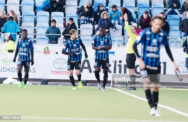 Moses Ogbu celebrates after scoring 01during the Allsvenskan match between IFK Norrkoping and IF Sirius FK at Ostgotaporten on April 17 2017 in...