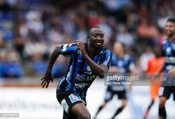Moses Ogbu of IK Sirius FK celebrates after scoring t0 10 during the Allsvenskan match between IK Sirius FK and Athletic FC Eskilstuna at...