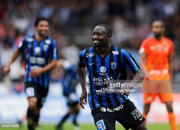 Moses Ogbu of IK Sirius FK celebrates after scoring to 10 during the Allsvenskan match between IK Sirius FK and Athletic FC Eskilstuna at...