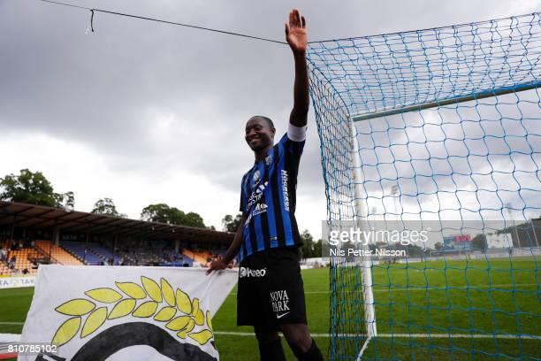 Moses Ogbu of IK Sirius FK celebrates after the victory during the Allsvenskan match between IK Sirius FK and Athletic FC Eskilstuna at Studenternas...