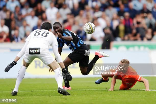 Moses Ogbu of IK Sirius FK has a chance to score during the Allsvenskan match between IK Sirius FK and Athletic FC Eskilstuna at Studenternas IP on...