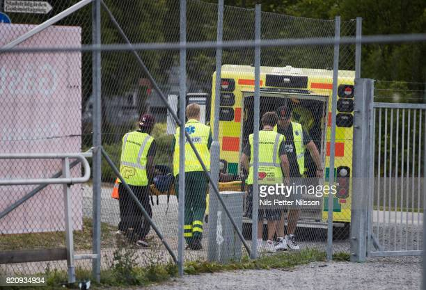 Moses Ogbu of IK Sirius FK is transported to hospital in an ambulance during the Allsvenskan match between IK Sirius FK and BK Hacken at Studenternas...