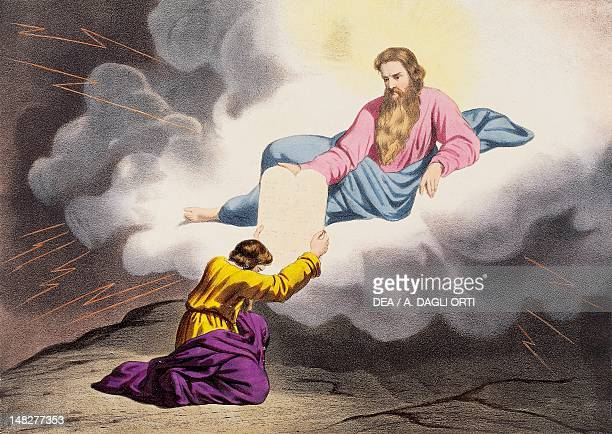 Moses on Mount Sinai receiving the Ten Commandments illustration from the Old Testament the end of the 19th century engraving by Bequet Delagrave...