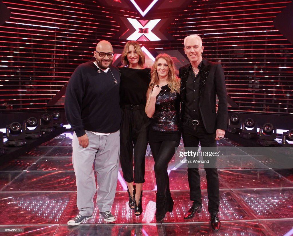 Moses Pelham Sarah Conner Sandra Nasic and HP Baxxter attend the 'XFactor' First Live Show on November 4 2012 in Cologne Germany