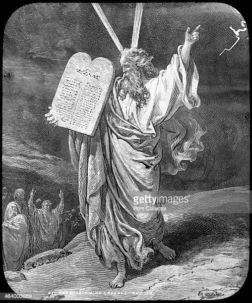 Moses receives the law late 19th or early 20th century Moses receiving the Ten Commandments from God on Mount Sinai as described in Exodus Lantern...