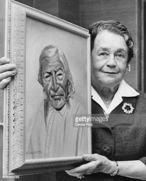 Moses Red Feather 'a Sioux Indian prominent in his tribe' and the woman who painted his portrait from a postcard Denverite Mrs Bula Gates Credit...