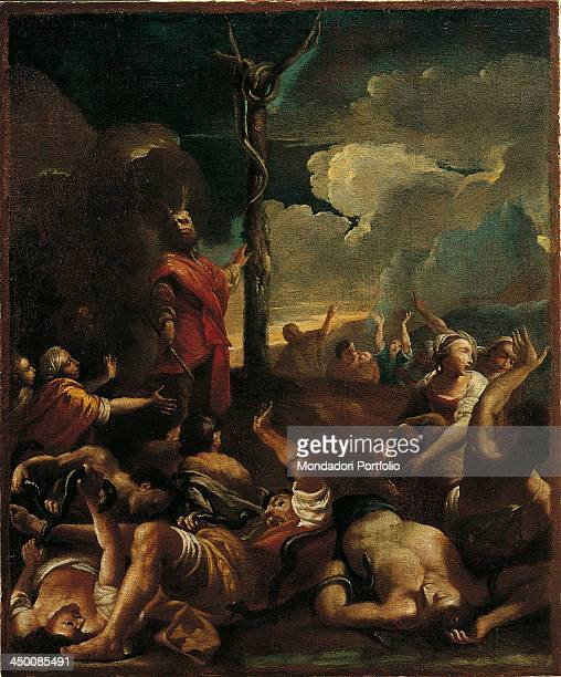 Moses shows the bronze serpent to the Jews by Giuseppe Maria Crespi known as lo Spagnuolo 17th Century oil on canvas 103 x 85 cm
